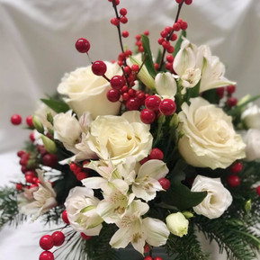 Fresh white holiday centerpiece