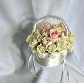 Baby pink & cream miniature rose basket