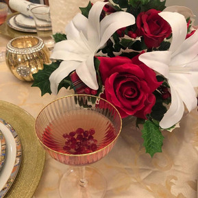 Plaid holly centerpiece with table setting