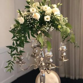 All-White Candelabrum centerpiece