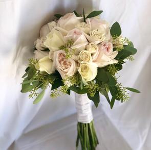 Pale pink & white garden rose bouquet