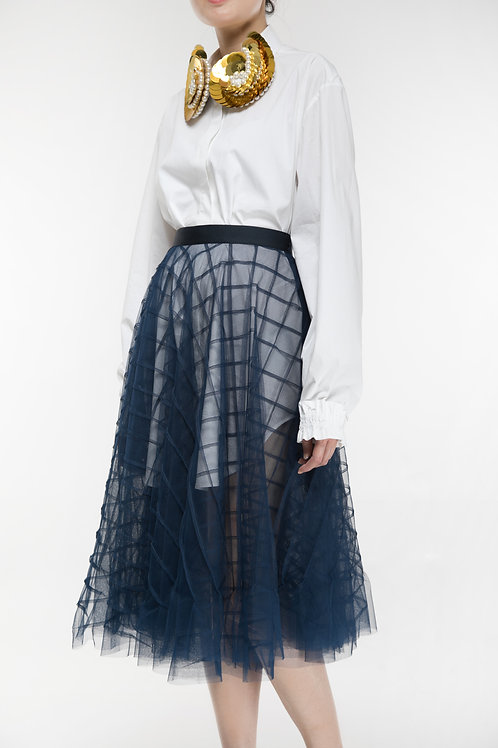 PIN-TUCK PLAIDS TULLE SKIRT