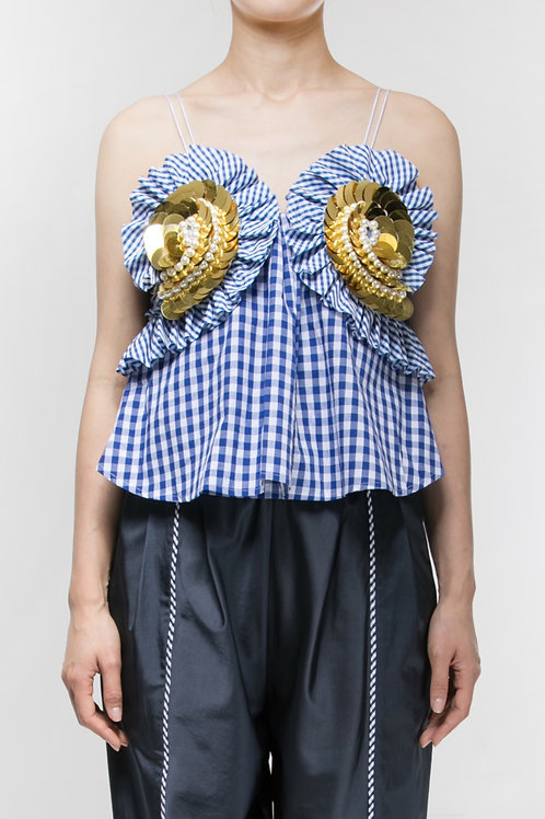 SPIRAL RUFFLE TOP with XL GOLD EMBROIDERY BROOCH