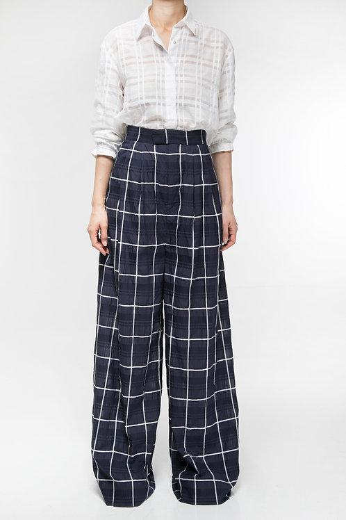 NAVY PLAID WIDE LEG TROUSERS