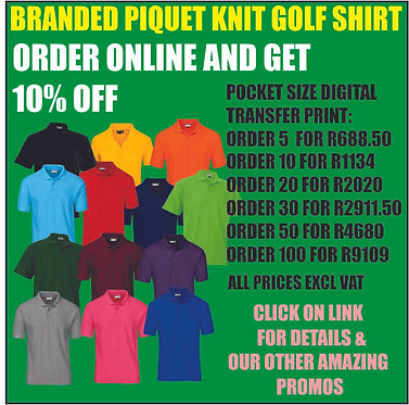 5 x Branded Piquet Knit Golfers.