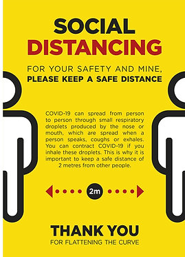Social Distance Yellow Poster A2 (Also available in A1 & A3)