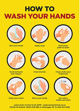 Wash Hands  Yellow Poster A2 (Also available in A1 & A3)