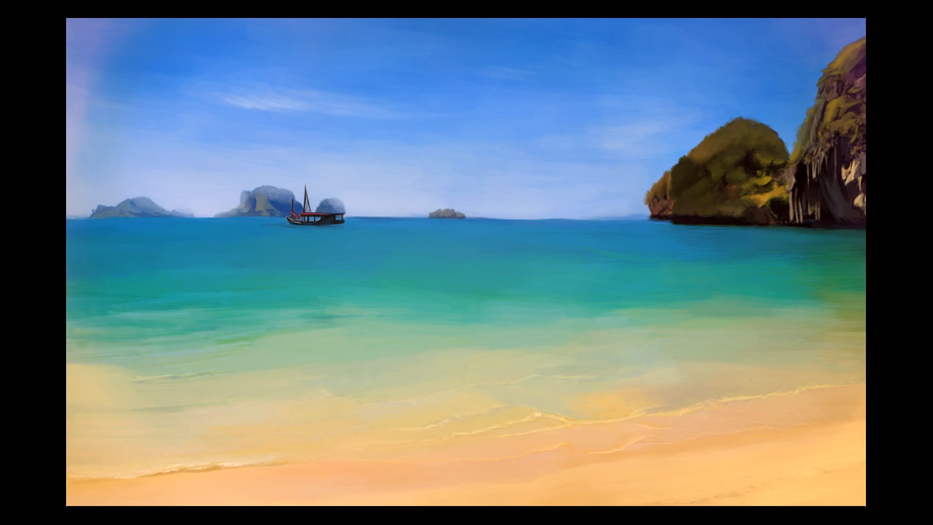 Beach - Cartoon Painting
