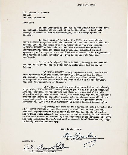 1956 March 26 Contract with Parker, reco