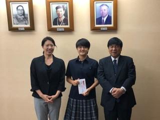 島田芽依さん、サッカーU-16日本女子代表選出のお祝い