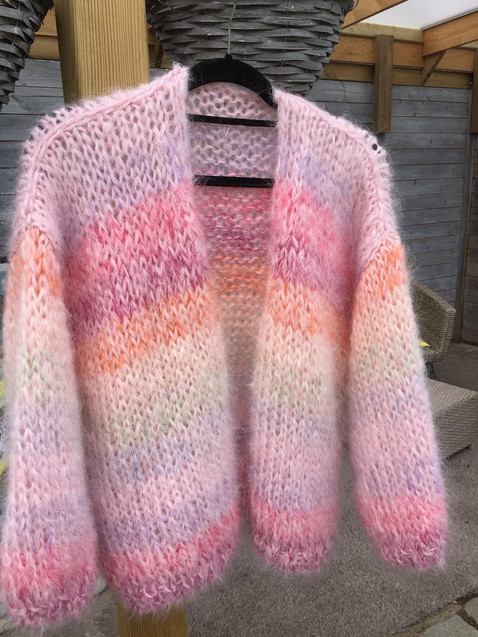mohair vest pink and rainbow
