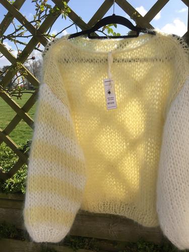 mohair sweater white/yellow