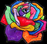 Open Wide Logo: A Rainbow Rose