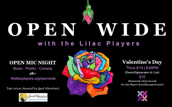 """Poster for the Lilac Players event """"Open Wide"""" Feb 2019"""