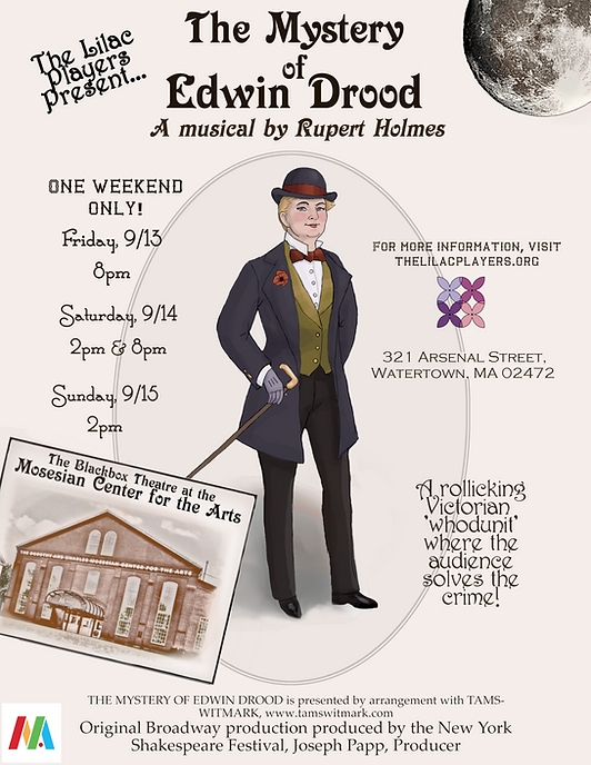 """Poster for The Lilac Players past event, """"The Mystery of Edwin Drood"""" (Sept 2019)"""