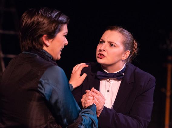 Anna-Constantia Richardson as John Jasper and Elyssa Bjorkman as Edwin Drood