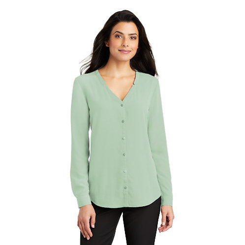 Port Authority Ladies Long Sleeve Button Front Blouse