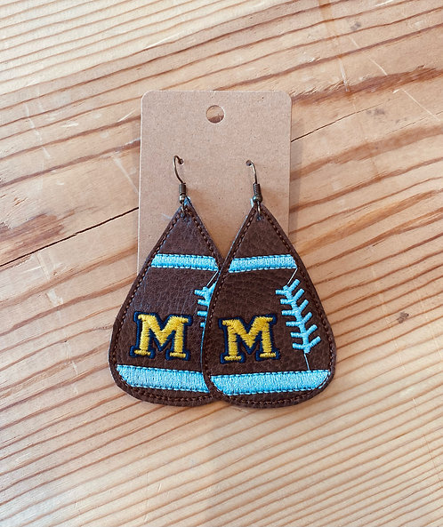 Marion Embroidered Football Earrings