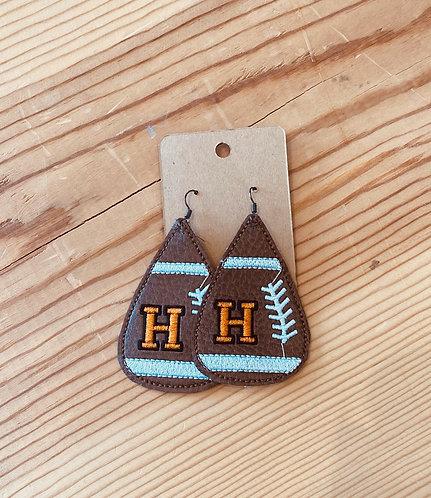 Herrin Embroidered Football Earrings