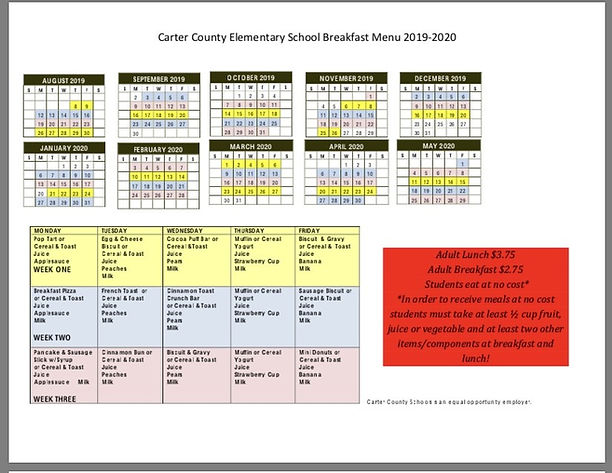 Calendar & Menus | Prichard Elementary School