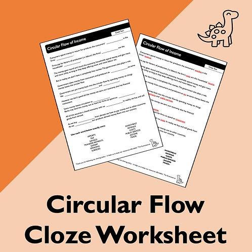 Circular Flow Cloze Worksheet