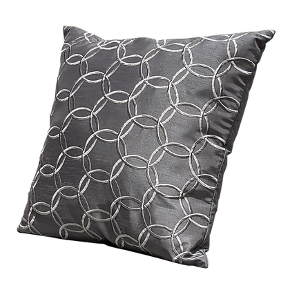 Gray with Silver Circles Decorative Pillow