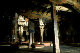 The dark inside of a gompa