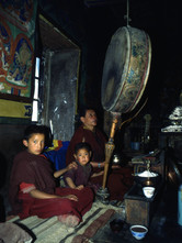 Drum and tsampa (roasted barley used as a gift)