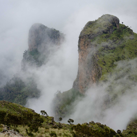 Misty scene on the path in the Simean Mountains