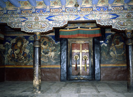Ornate entrance to gompa