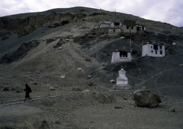 The harsh barren setting to many of the gompas