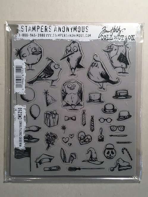 Tampon Stamper Anonymous Tim Holtz mini bird crazy & things