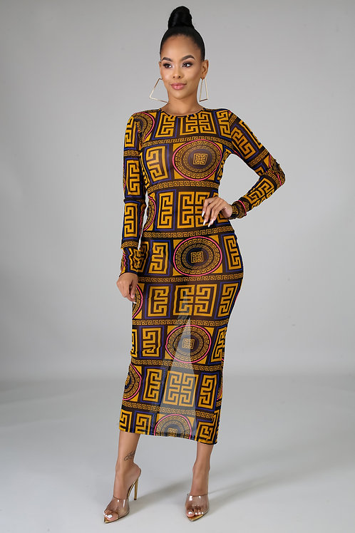 Shear Maze Midi Dress