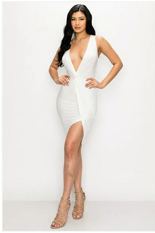 """""""Sherry"""" Solid Bodycon Dress with V Neckline and Gathered Bust"""