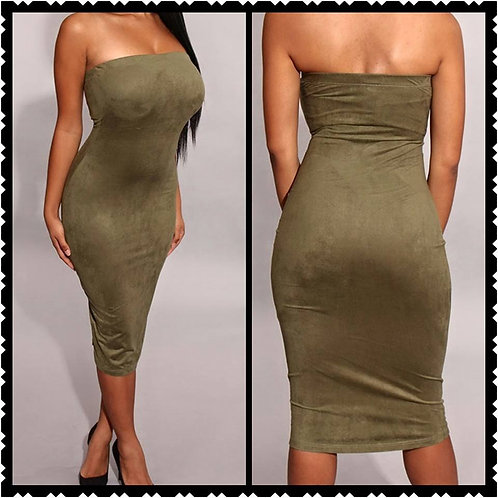 Olive Green  Suede Tube Midi Dress