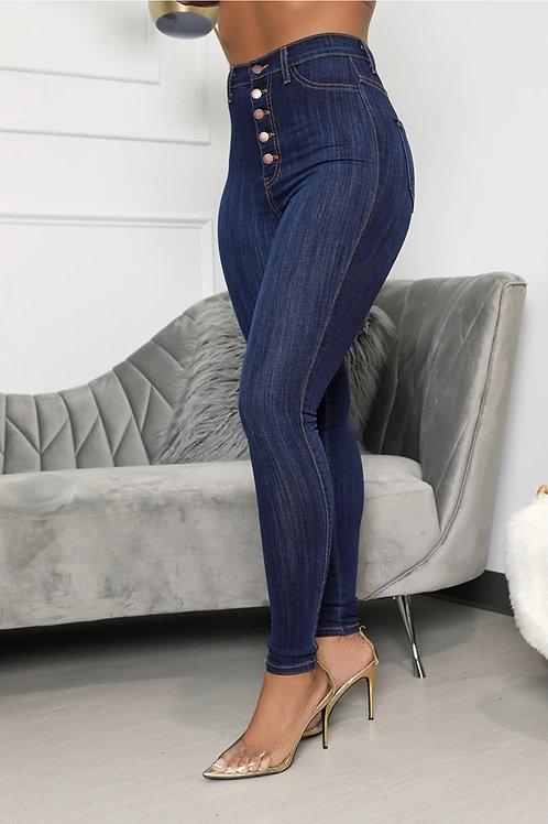 Heather High Waist 4 Button Jeans