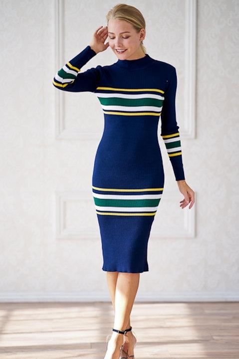 """Sherry"" Sweater Midi Dress (Navy)"