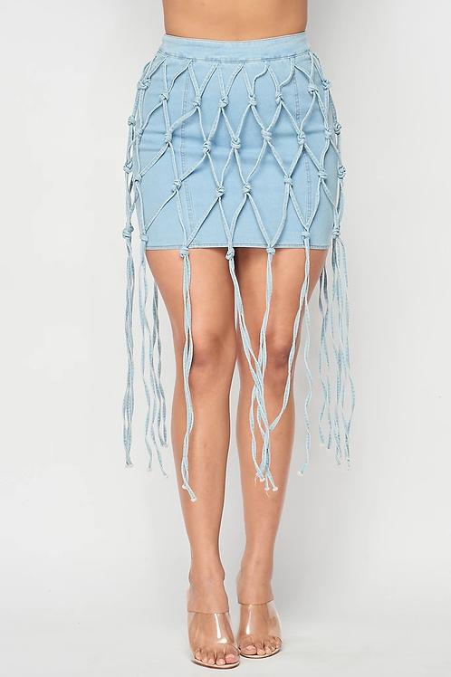 Honey Comb Denim Skirt