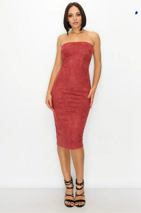 Faux Suede Strapless Midi Dress