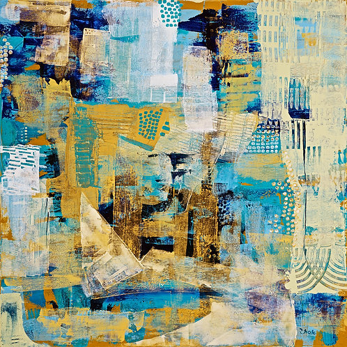 Abstract-Golden Blue Art