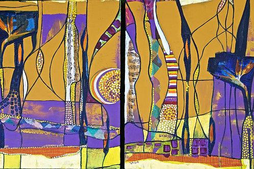 Ocher & Purple Diptych