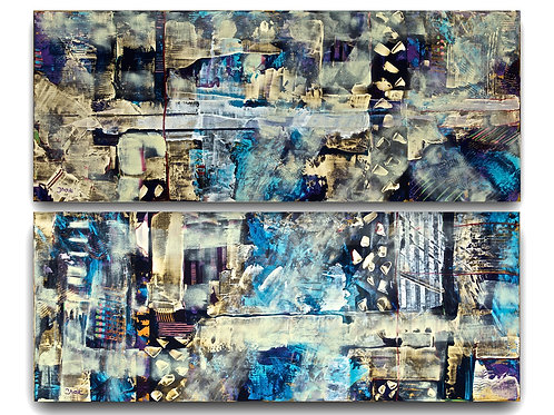 Abstract-Golden Silver Art Décor-  Diptych