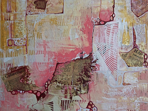 Abstract painting art Pink & Gold