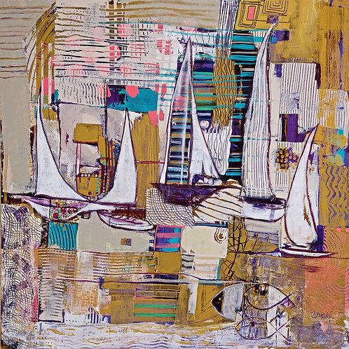 Abstract-Golden Violet Art