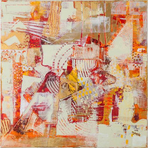 Abstract- Golden Orange Art