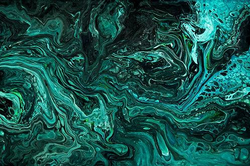 Abstract-Dark blue green Art