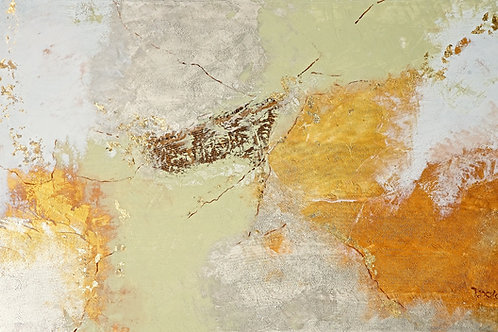 Abstract- acrylic art - at home&gold leaves