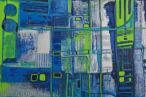 Abstract- blue silver green fields