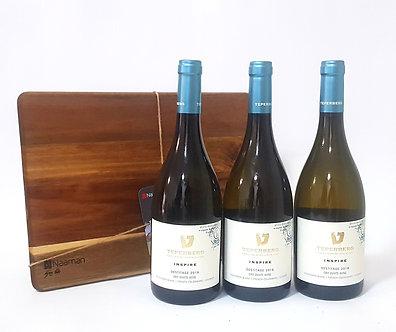 שלושה בקבוקי יין מסדרת אינספייר דסיטאז' + בוצ'ר מתנה