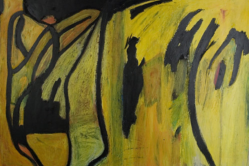 Abstract Art Acrylic Paint - An adventure in yellow